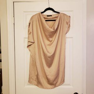 CHAMPAGNE GOLD SATIN OFF SHOULDER COWL DRESS SMALL